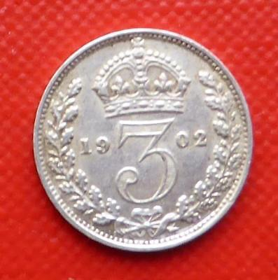 A 1902 Gb King Edward Vii Silver Threepence Coin / Superb Example