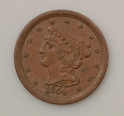 1854 Brown Braided Hair Half Cent *G88