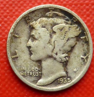 1935 Silver Mercury One Dime Coin From The United States Of America
