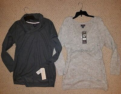 NEW Lot 2 Oh Baby Motherhood Maternity fall winter sweaters size Large *NWT*