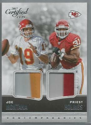 Joe Montana, Priest Holmes 2017 Absolute 2-Color Dual Patch Relic Mega Sp #06/10
