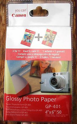 """New Canon GP-401 4"""" x 6"""" Glossy Photo Paper 2 x 50 sheets BOGOF packs"""