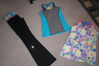 Lot of Rare Girls Ivivva by Lululemon Luon Pants and 2 Tank Tops sz 14