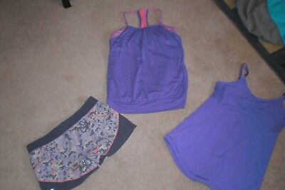 Lot of Girls Ivivva by Lululemon Shorts and 2 Tank Tops sz 14