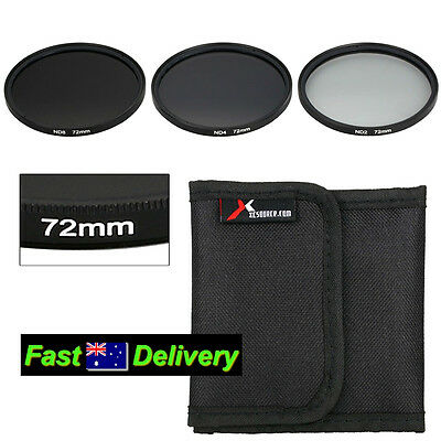 72mm Neutral Density Filter Kit ND2 ND4 ND8 Case for CANON LENS - See Fit List