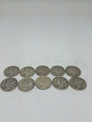 Mercury Dime 90% Silver $1 Face Value - Lot Of 10