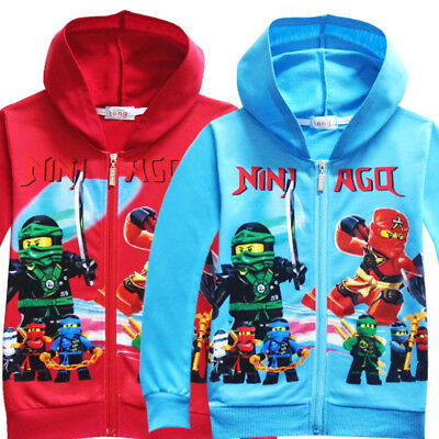 US STOCK Lego Movie Ninjago Boys Zip-Up Costume Hoodie Sweatshirt Jacket O22