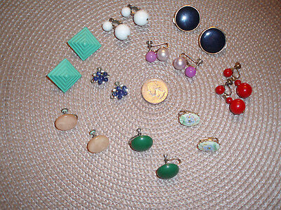 Mixed Lot of  9  Vintage Retro to Modern Earrings  Clip, Screw Back