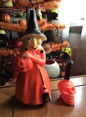 """Vintage Halloween Candle Lot Gurley Tall 8"""" Witch Skull 60s More Available! MCM"""