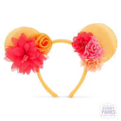 Disney Parks Minnie Mouse Ear Headband - Orange Pastel Flowers Florals