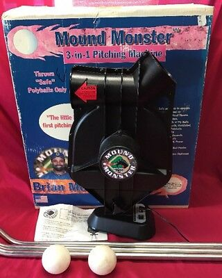 MOUND MONSTER Pitching Machine TESTED WORKS GREAT w/Box, Adapter & Polly Balls