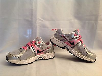 Nike Dart 10 Running Gray, Pink,and White Girls Sneakers  Size 1 Y
