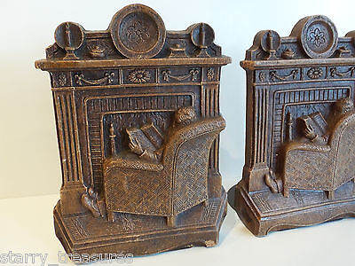 """Vintage Syroco Bookends """"relaxing By The Fireplace"""" Nostalgic"""