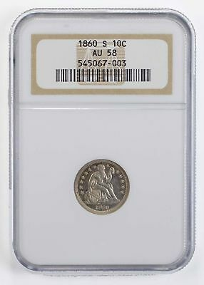 AU58 1860-S Seated Liberty Dime - NGC Graded *0829
