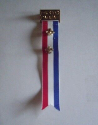 Boy Scout, Cub Scout Proud Parent Pin And Ribbon With Two Metal Scout Insignia