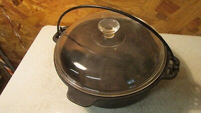 Antique Wagner Ware Cast Iron Kettle & Glass Lid- 2 Qt