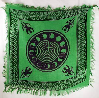 """Tarot/altar Cloth - Celtic Design with Goddess and Phases of the Moon - 18""""x"""