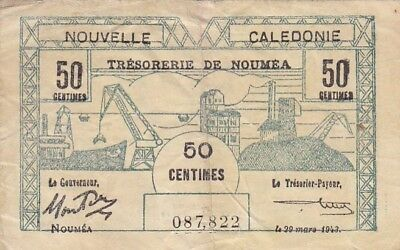 1943 New Caledonia 50 Centimes Note, Pick 54
