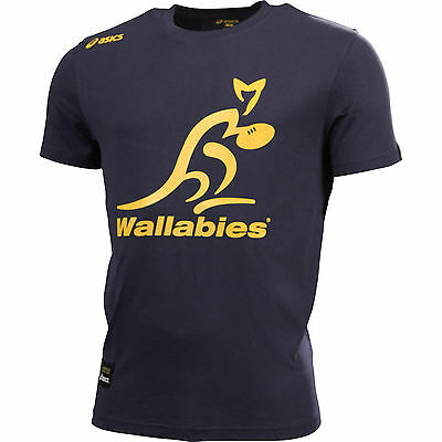 Rugby Wallabies NAVY Logo Mens Supporter Tee T Shirt Slim Fit, Sizes L-3XL