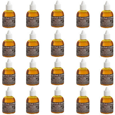 20 x Sugarflair YELLOW Edible Food Colour Liquid For Airbrushing Cake Decorating
