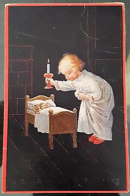Antique Germany 1922 Small Child Goodnight Dolls Photograph Postcard Stamps