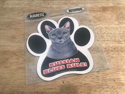 Russian Blues Rule - Magnetic and Waterproof Cat Sticker Magnet