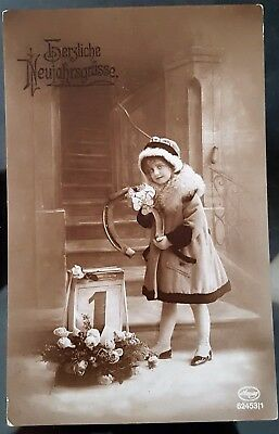 Old Switzerland 1920 Small Child New Years Eve Black White Photograph Postcard