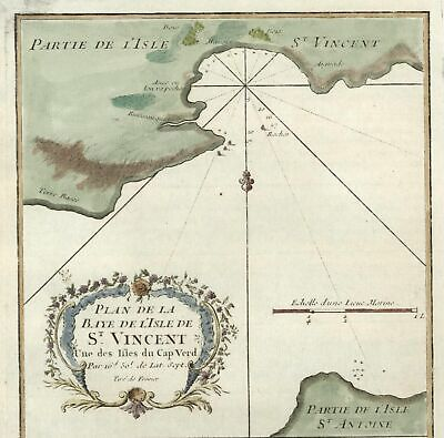 St. Vincent Cape Verde Islands Africa Portuguese nautical map c.1742 Bellin