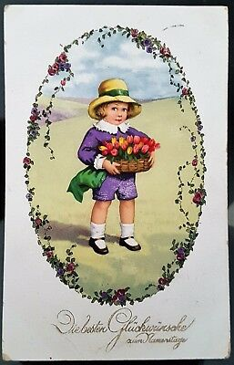 Old Antique Germany 1921 Small Child Name Day Greeting Art Cartoon Postcard