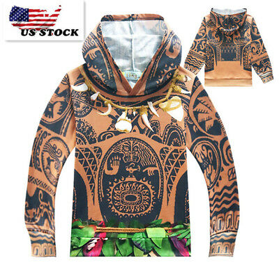 Boys Spring Moana Maui Pull Over Hoodie Sweatshirt Jacket  Costume O65