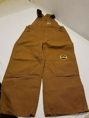 Youth CARHARTT Brown Bib Overalls Double Knee Size 8 Dungaree Fit ~ NEW w/TAGS!!