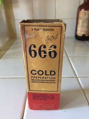 Apothecary Antique 666 Cold Medicine Bottle with Original box