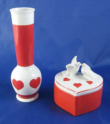 Vintage Lefton Valentine's Day Lovebirds Trinket Box and Heart Bud Vase