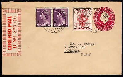 Australia 1957 4 pence embossed QEII envelope uprated 6 pence for Certified Mail