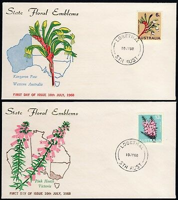 Australia 1968 unidentified first day covers for 6c and 13c State Floral Emblems