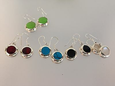 Mexican Silver .925 Earrings Turquoise Coral Onyx Pearl Gaspeite Amethyst