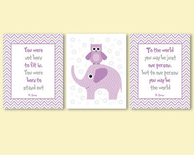 Set of 3 prints for kids, baby girl nursery - Dr Seuss quotes, elephant, owl