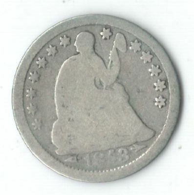 U.S. 1853 Silver Seated Liberty Half Dime w/ Arrows at Date - Nice Type Coin