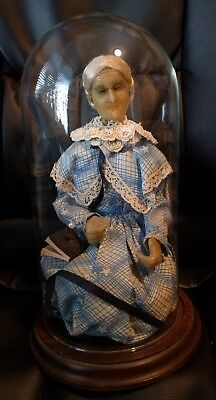 Antique Wax grandmother Doll- Displayed in Glass Dome Case - Glass Eyes