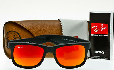 RAY-BAN JUSTIN RB4165 622/6Q SUNGLASSES Color Mix Black Rubber-Red Mirror 51mm