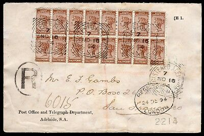 South Australia 1894 registered cover to San Francisco with ½d bantam block (16)