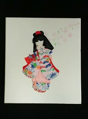 Vtg Japenese 3D Fabric Doll Picture SIGNED by MDRT Acapulco 1986 May, 26