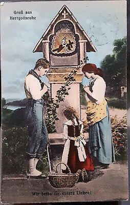 Antique Germany 1918 Colour Praying at Shrine Postcard
