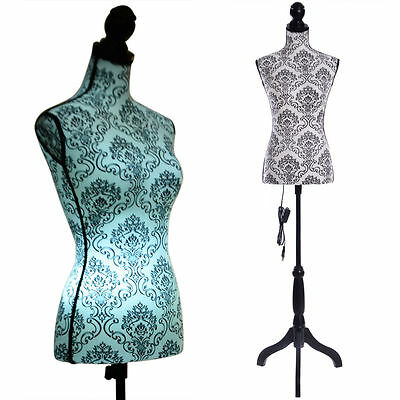 LED light Female Mannequin Torso Dress Form Display W/Black Tripod Stand
