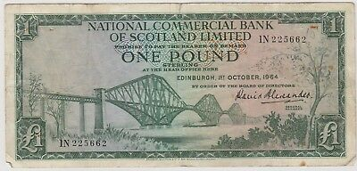 1964 £1 One Pound National Commercial Bank Of Scotland Edinburgh  Note