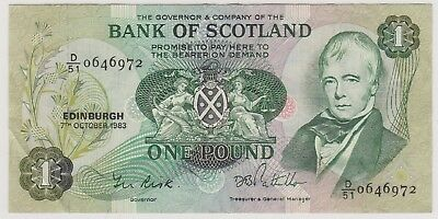1983 £1 One Pound  Bank Of Scotland Edinburgh  Note Circulated 972