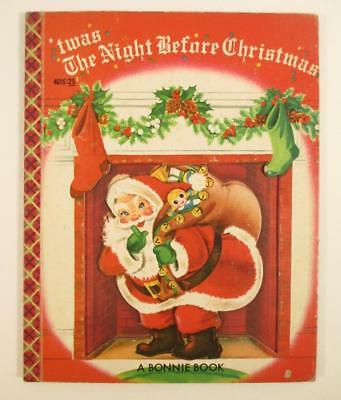 Vintage Bonnie Book 'twas The Night Before Christmas Die Cut Cover 1954