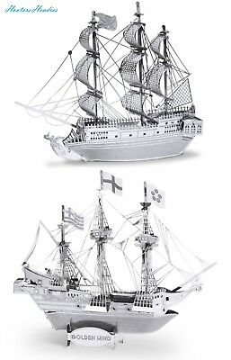 Metal Earth 3D Laser Cut Steel Models - Black Pearl Ship AND Golden Hind Ship =