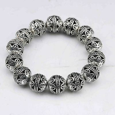 Collectable Tibet Silver Hand Carved Hollow small ball Bracelet  G943