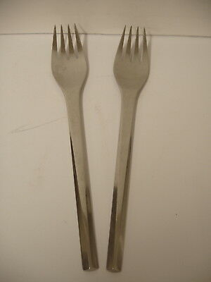 set of 2 solid 7 inch Forks in Prism pattern Stainless by GEORG JENSEN DENMARK